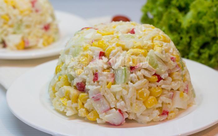 крабовый салат рецепт классический с огурцом без риса