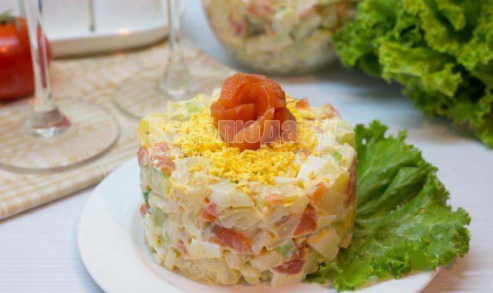 салат с красной рыбой рецепт с фото пошагово
