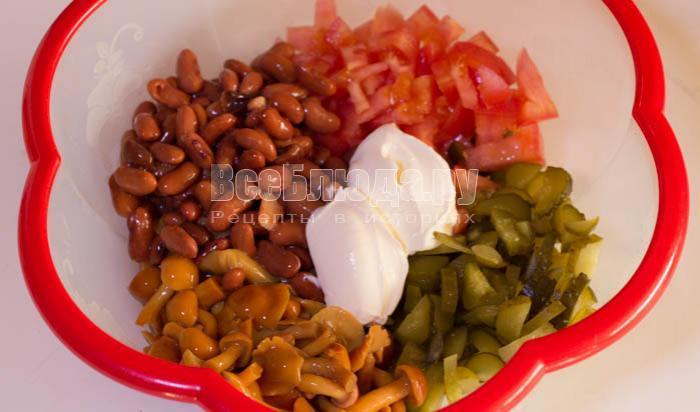 салат с фасолью и печенью пошаговый рецепт и фото